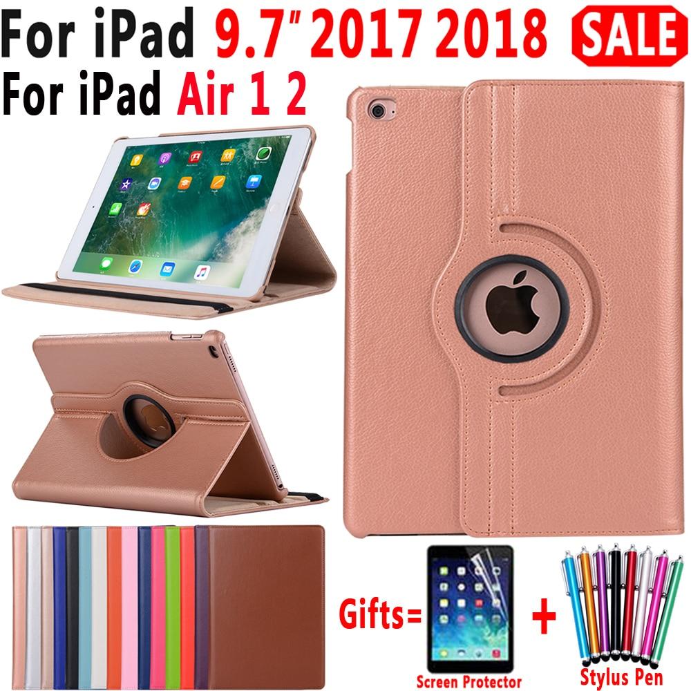 360 grados de rotación de cuero Funda para Apple iPad aire 1 2 5 6 nuevo iPad 9,7 De 2017 de 2018 A1822 A1823 A1893 Coque Funda