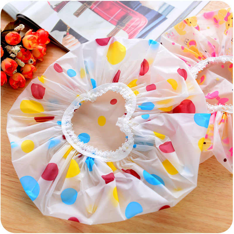 New Lovely thick waterproof shower cap shower cap kitchen adult anti-smoke bathing cap Free shipping 1pcs