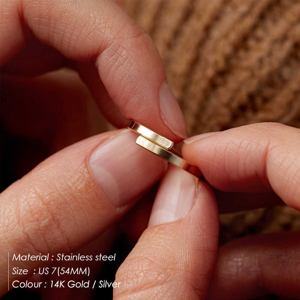 E-Manco Minimalist Custom Letter แหวน Lover Forever หมั้นแหวนปรับแหวนสแตนเลสผู้หญิง