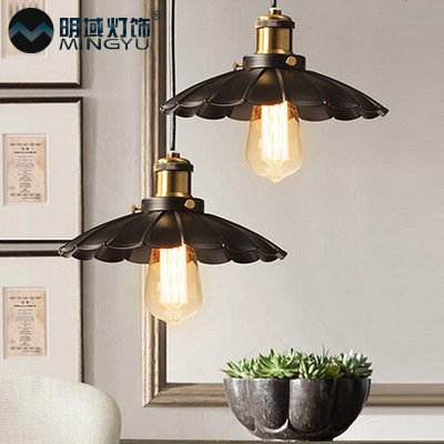 ФОТО American country Cafe Bar Restaurant balcony lamp loft industrial retro single head of Creative Arts Tieyi Pendant Lights