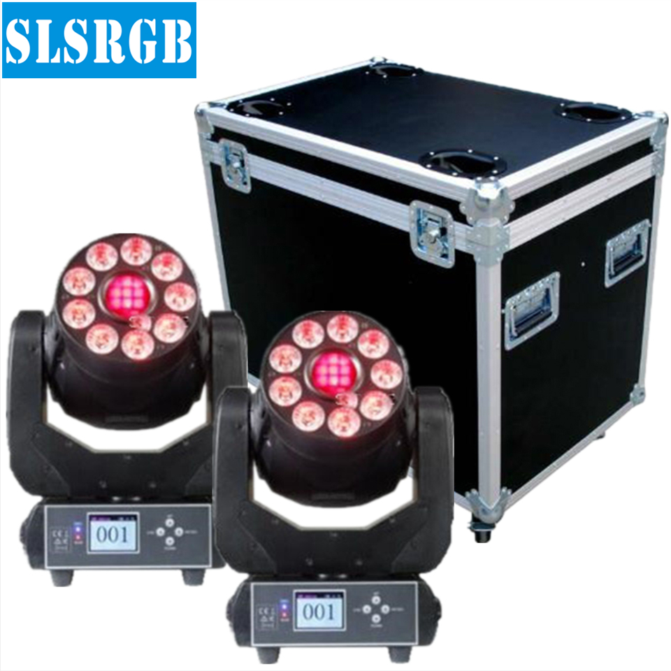 2pcs/lot with flight case Hybrid Effect Projector 9pcs 12w 6in1 RGBWAUV Wash LED 75w LED Spot Moving Head Light 9pcs 12w Wash