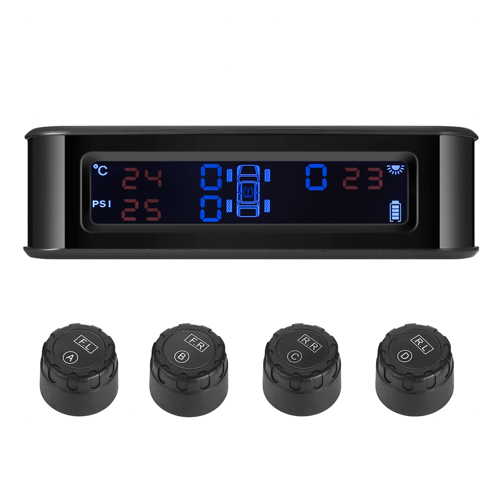 Système de surveillance de pression des pneus de voiture TPMS à énergie solaire de haute qualité diffusion vocale de données électroniques 4 capteurs externes intelligents