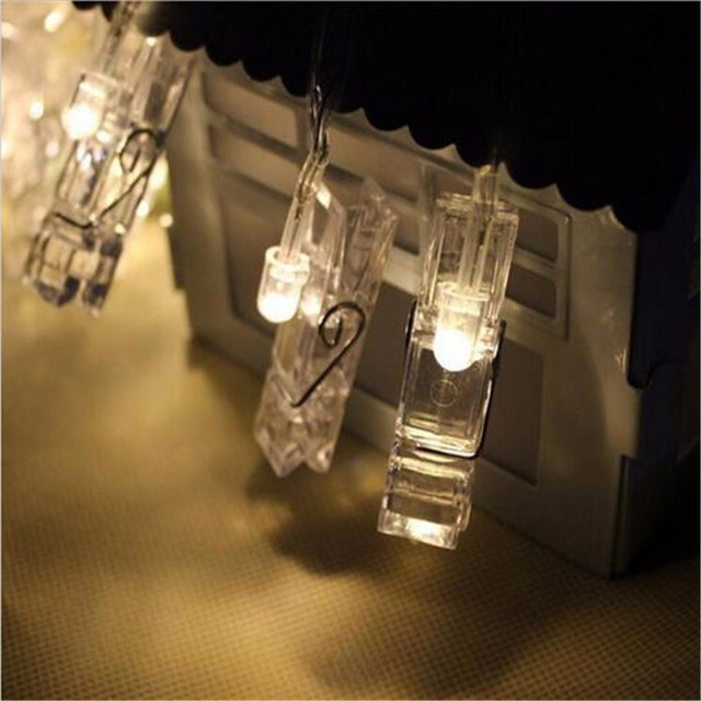 hot sale mini 12 led clip string lights battery christmas lights new year party wedding home
