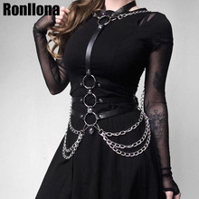 Leather Metal Body Chain Bralete Top Cage Harness Punk Gothic Garter Strap Fetish Festival Dance Rave Women