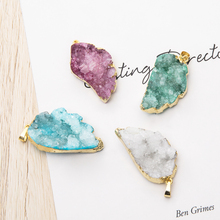 Leaf shape Druzy Pendants Gold Plating Natural Gem Stone White Crystal agates Cluster For Jewelry Making