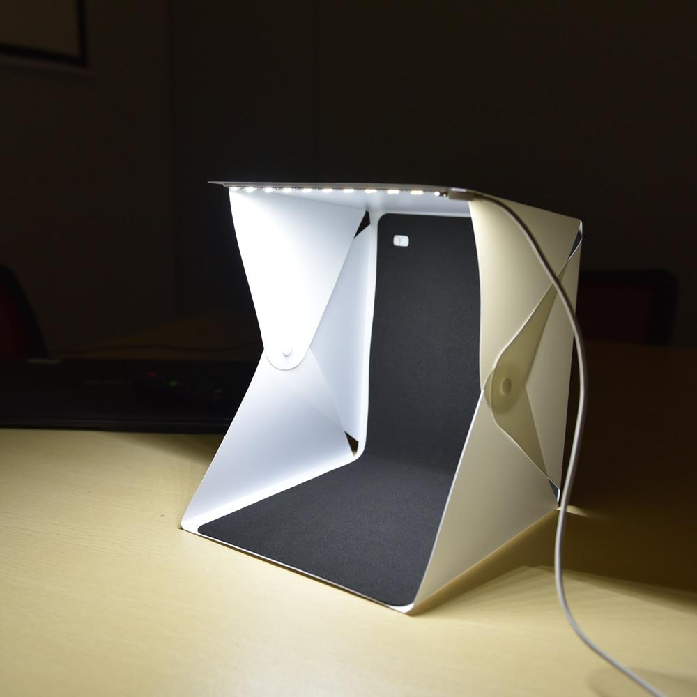 Mini Portatile Pieghevole lightbox Fotografia Photo Studio box con Kit di Illuminazione A LED Light box per DSLR Fotocamera Digitale