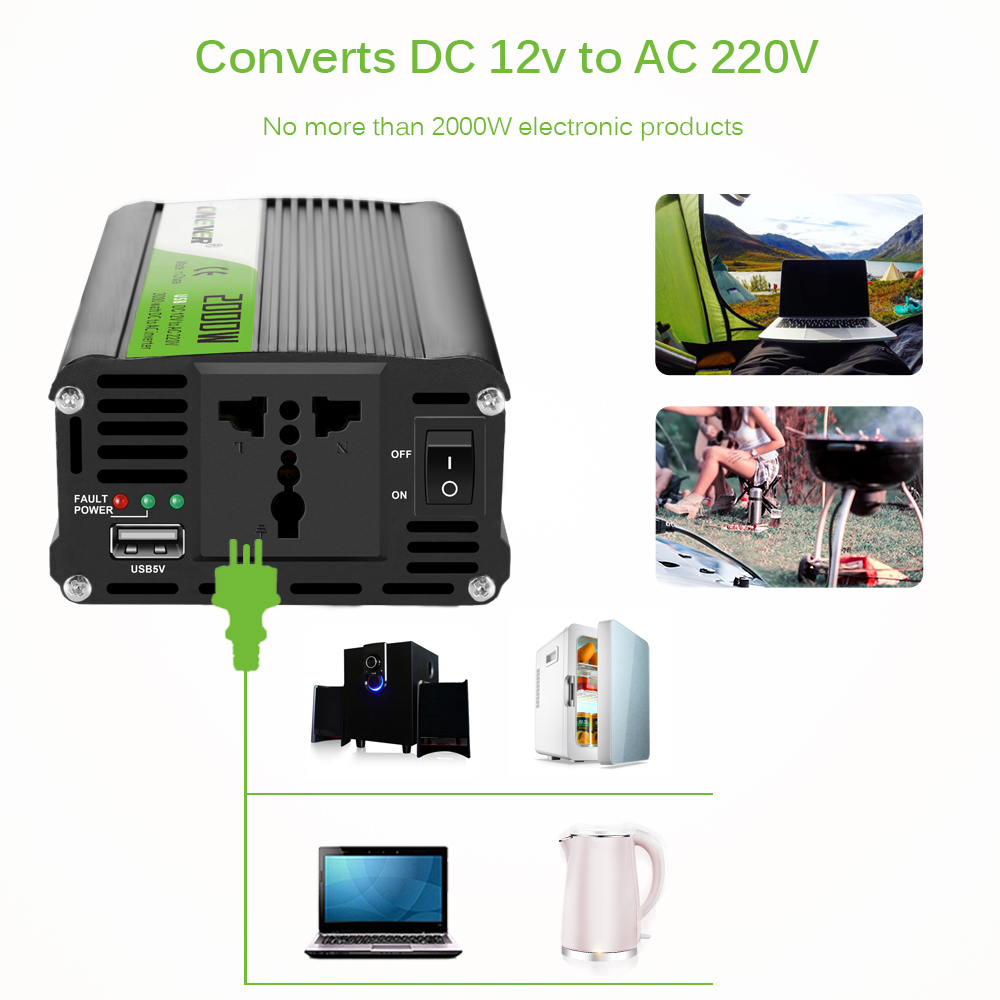 Onever 2000W Intelligent Car Power Inverter DC To AC (12V to 220V) Car Voltage Converter with USB Charging Port