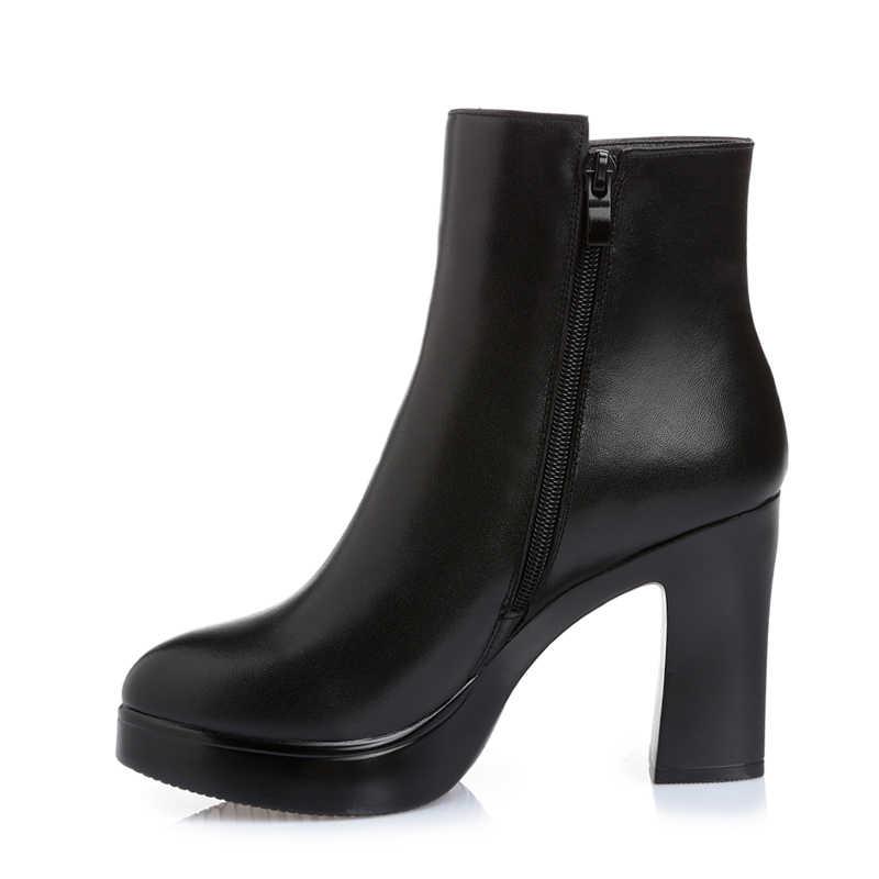 GKTINOO Yeni Moda Sonbahar Kış Ayakkabı Kadın Hakiki Deri Çizmeler Kadın Çizmeler Kalın Yüksek Topuklu yarım çizmeler Yün Kar Botları