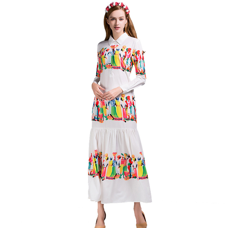 2018 Large Size XXXL Summer Women s Retro Maxi Long Dress Floral Printing Runway Holiday Vintage