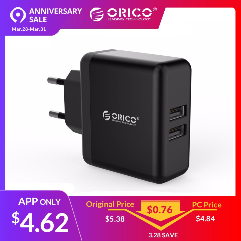 ORICO WHC Schnelle Lade Wand USB Ladegerät Adapter Mit 2 USB Port 5V2. 4A 15 W Max Tragbare USB Reise Ladegerät EU Stecker