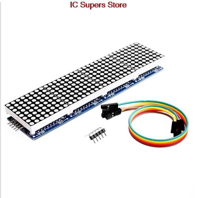 Aus Dem Ausland Importiert 1 Pcs Led-anzeige Max7219 Grün Dot Matrix Modul Mikrocontroller 4 In Einem Display Mit 5 P Linie 4 In 1 Grün Max Control Neue