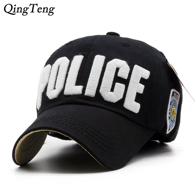b7c4c4b7414 Luxury Embroidery Police Baseball Cap 100% Cotton Parent-Child Hat For Girl  Boys Casual Sun Men Bone Fashion Brand Snapback Caps
