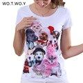 2016 Top Qualidade Adorável Cães 3D Impresso T-shirt Mulheres Animais gráfico Rosa Diamantes Buldogues Franceses camisa de T Para Mulheres Cão 8206