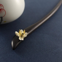 Silver 3d Flower Ebony Hairstick Vintage Chinese Hairpin Wooden Hair Fork Women Hair Accessories Hair Pin 18cm WIGO1105
