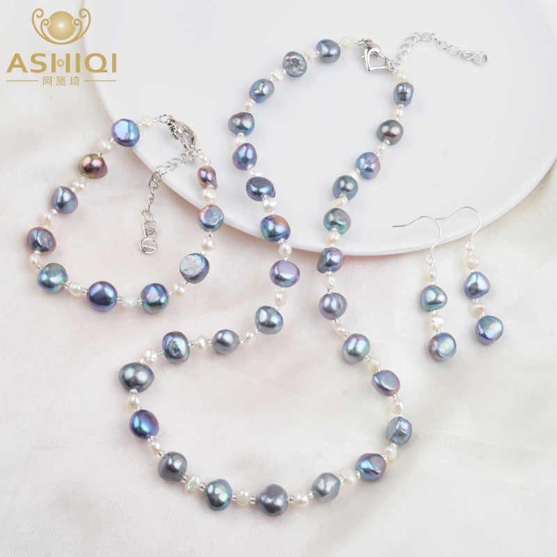 ASHIQI Natural Baroque pearl Jewelry Set Freshwater pearl Necklace Bracelet Earrings For Women New Arrival NE+BR+EA