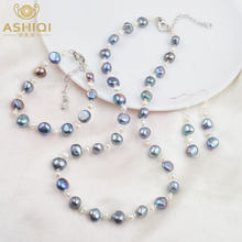 ASHIQI Natural Baroque pearl Jewelry Set Freshwater pearl Necklace Bracelet Earrings For Women New Arrival NE+BR+EA ashiqi natural freshwater baroque pearl layered necklace women 4 8mm 5 rows bohemia handmade jewelry fashion