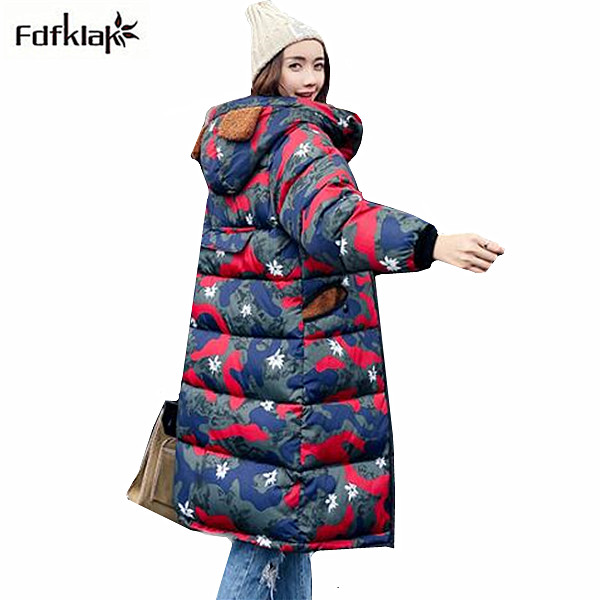 Fdfklak winter jacket women 2017 new cotton-padded jackets women's outerwear long coat print hooded thick warm coats and parkas 2017 winter new warm thick long coats for women stand collar slim parkas outerwear cotton padded jacket overcoat xxl
