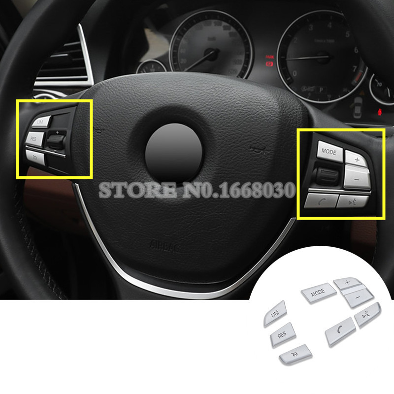 Inner Steering Wheel Button Trim Cover 7pcs For BMW 5 Series F10 F11 2011-2015 3pcs set m color front grill bumper cover trim decoration strip sticker for bmw 5 series f10 f11 2011 2013 f10 f18 2014 2015