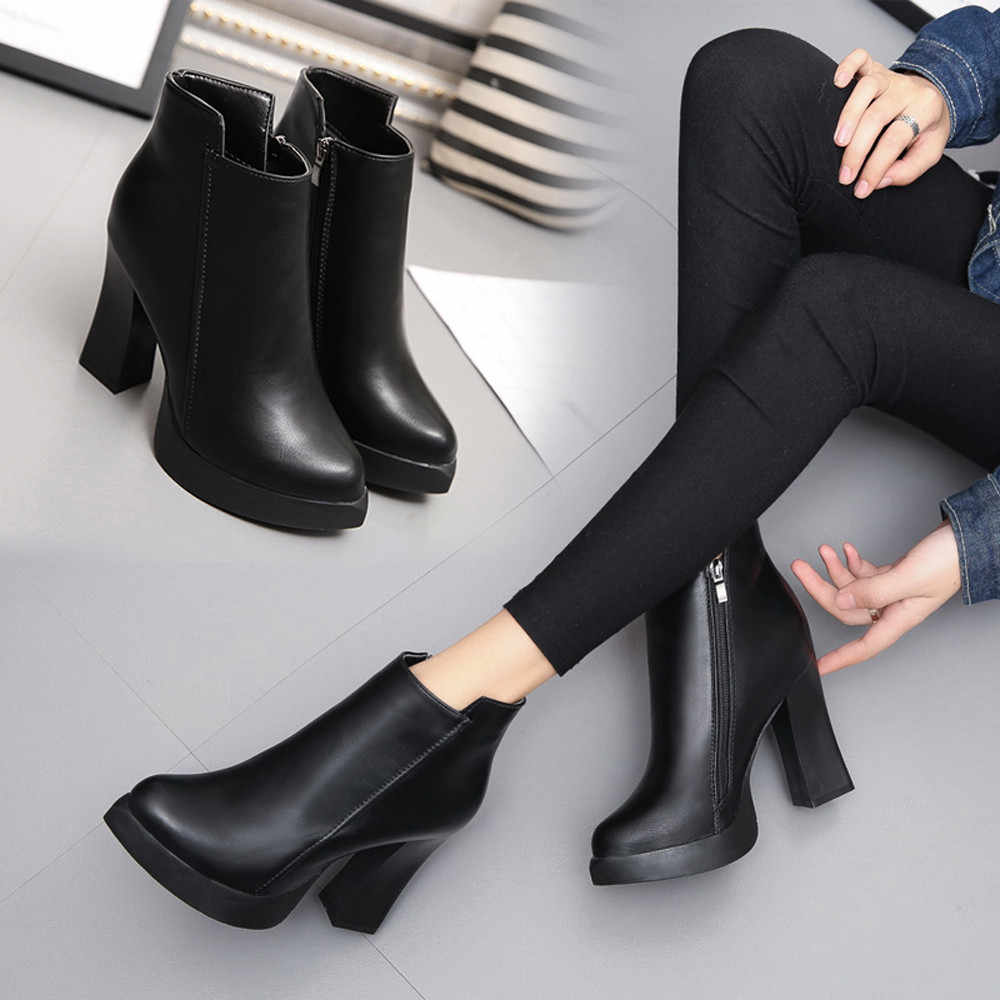 8fed2feef5e ... Indira New Arrival High Quality Winter High Heel Boots Pointed Martin  Boots Short Thick Short Boot ...