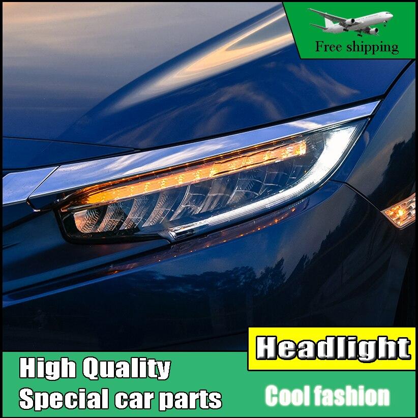 Стайлинга автомобилей фар для Honda Civic 10th 2016 полный светодиодный фары с движется очередь свет Фара светодиодный DRL спереди свет