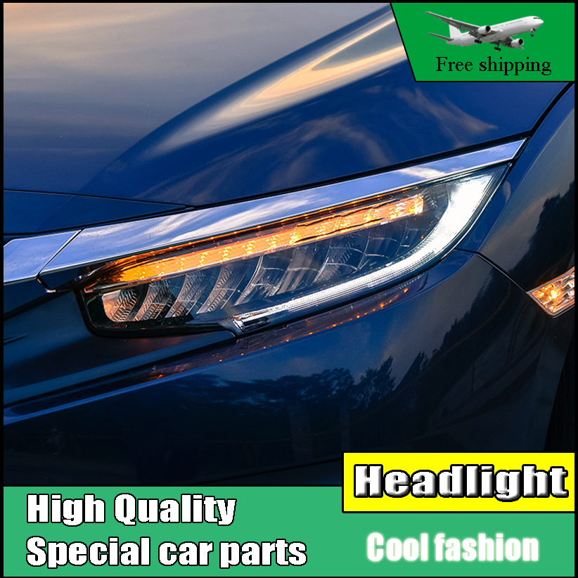 Car Styling Headlight For Honda Civic 10th 2016 Full LED headlights With moving turn light head lamp LED DRL front light
