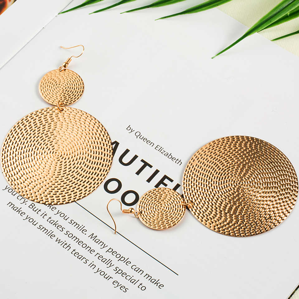 Exaggerated golden drop earrings for women statement jewelry Fashion big round circle shaped dangle earring Punk earings earing