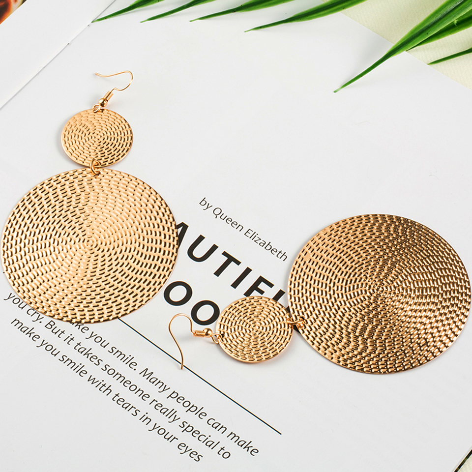 Exaggerated golden drop earrings for women statement jewelry Fashion big round circle shaped dangle earring Punk earings earing circle
