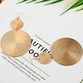 Крупные золотые Висячие серьги для женщин, массивные ювелирные изделия, модные большие круглые висячие серьги в форме колец, серьги в стиле ...