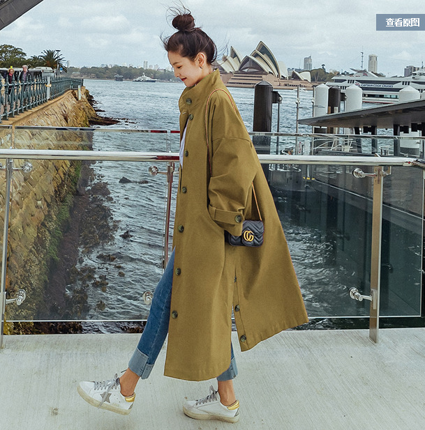 2018 Fashion Autumn Winter Long Trench Women Khaki Red Long Windbreak Single Breasted Streetwear Loose Trench