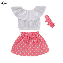 3PCS Toddler Newborn Baby Girls Clothes Ruffled Tops+Skirt+Headband Outfits цена 2017