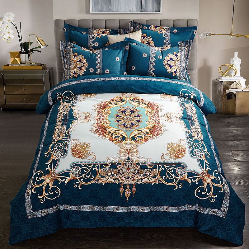 4pcs 100%cotton Sanding Classic Retro Bedding Set Thick Warm Duvet Cover Sets Bed Sheet Pillowcases Queen King Size 16 Styles