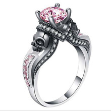 Classic Gothic Skull Style Colour Austrian Crystal CZ Silver Color Rings For Women Jewelry Trendy Birthday Wedding Gift Ring trendy skull pattern and color block design satchel for women