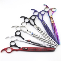 Purple Dragon 8.0 inch Professional Pet Scissors High Quality Thinning Shears Sharp Edge Cat Dog Grooming Scissors Haircut Tools