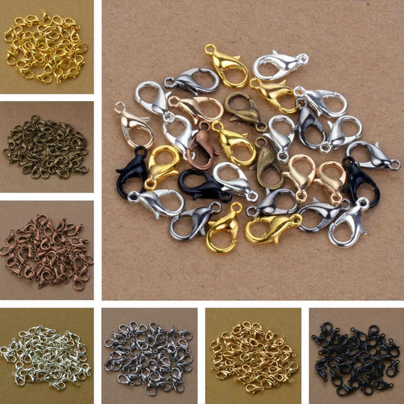 50pcs Lobster Clasp 12mm Bronze/Gold/KC Gold/Gun Black/Silver Lobster Clasps Hooks For Necklace bracelet DIY Jewelry Accessory