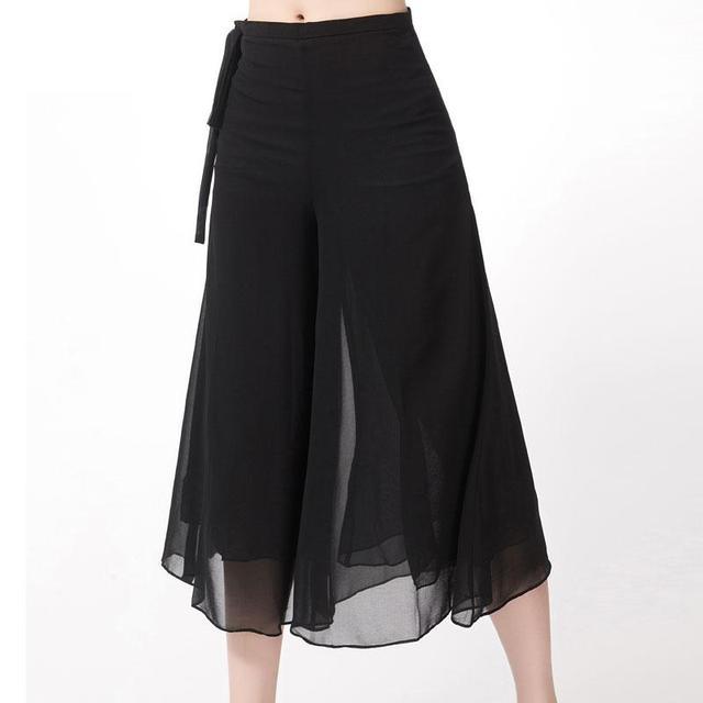 2016 Mais Novo Outono Dupla Chiffon Calças Perna Larga Das Mulheres Do Vintage Plus Size solto Calças de Dança Suave Cintura Alta Causal Pantalon Femme