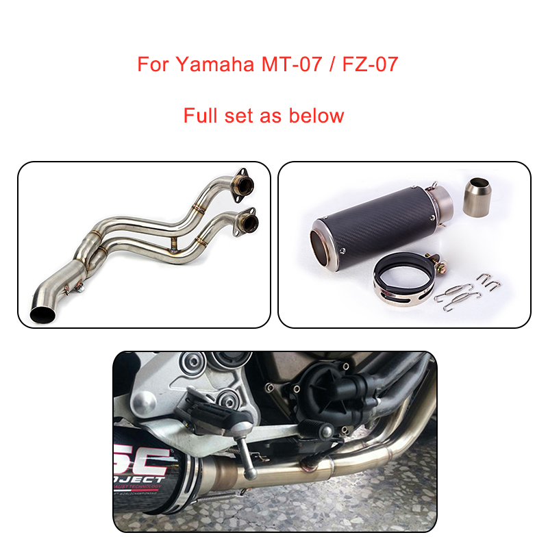 MTCLUB Motorcycle Full Set Muffler Exhaust Contact Middle Pipe Modified For Yamaha MT-07 FZ-07 MT07 MT 07 2014 2015 2016 2017