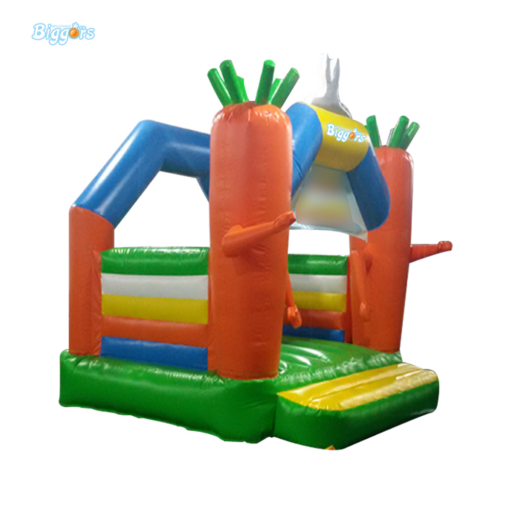 Carrot PVC Inflatable Jumping Castles House with Free Blower 2015 blue yellow inflatable jumping house free shipping