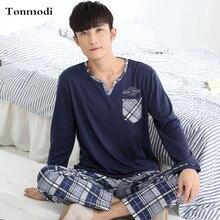 Пижама для мужчин, осенняя одежда для сна, пуловер с длинным рукавом, пижамный комплект, хлопок, повседневная мужская пижама размера плюс 3XL