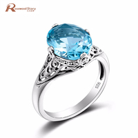 Luxe Cocktail Oostenrijkse Crystal Ring Hemelsblauw Stone Echt 925 Sterling Sliver Ring Retro Sieraden Voor Vrouwen anel anéis Groothandel