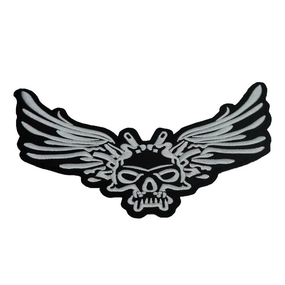 Large Ax Skull Motorcycle Backing Embroidered Punk Biker Patches Sticker Apparel