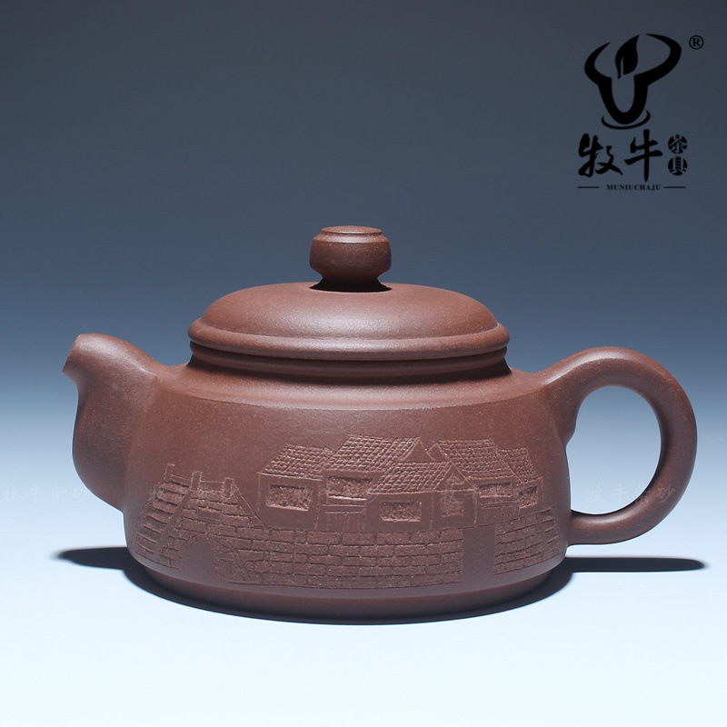 Relief carving bridges ml of yixing raw zisha teapot