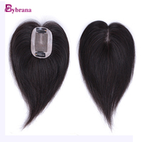 Bybrana 2 Clip Human Remy Hair In Middle Part Top Closure 100 Natural Color 6 Inch