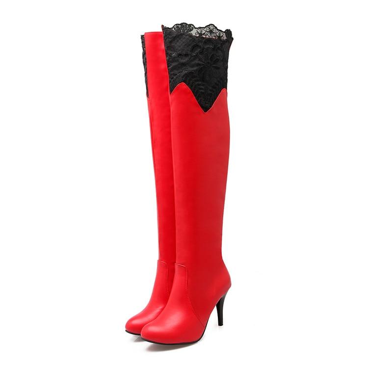 Taille Pour Chaussures De Rubans Bottes Hiver rouge Haute Slip Automne 2017 Grande sur Casual Hauts Noir Mince Chaud blanc 50 Talons Sexy Femmes 34 915 v4x45wzqR