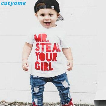 a31948c59 Niños camiseta del verano manga corta algodón Mr. robar su impresión divertida  ropa para niños Baby Boy camiseta Tops ropa