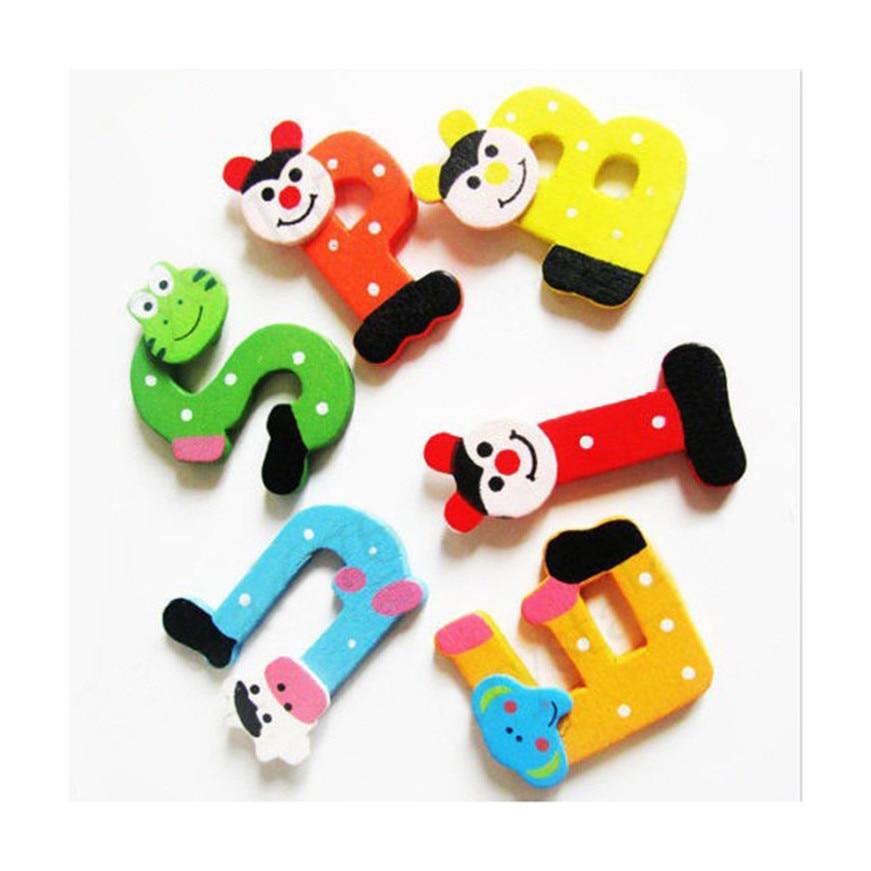 Математика игрушки для детей 26 шт. деревянный мультфильм алфавит A-Z магниты ребенок развивающие игрушки милый исследование инструменты дро...