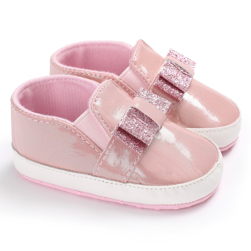 Baby Girls Shoes Newborn Bling Sequins Bow PU Leather Baby Shoes First Walkers Leisure Baby Moccasins Sneaker Soft Sole