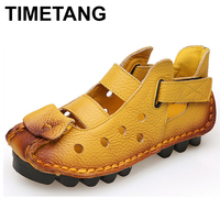 TIMETANG Handmade Cut Outs Genuine Leather Shoes Women Personality Casual Women Sandals Tunnel Vintage Summer Sandals