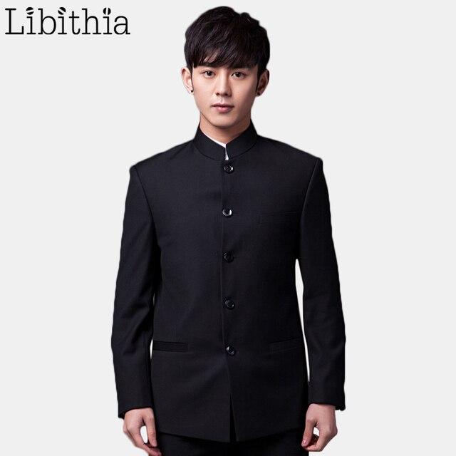 (Куртка + штаны) для мужчин формальный Slim Fit китайский Стиль Повседневные комплекты одежды Нарядные Костюмы для свадьбы Для мужчин XS-3XL все сезоны TERNO masculino Блейзер черный