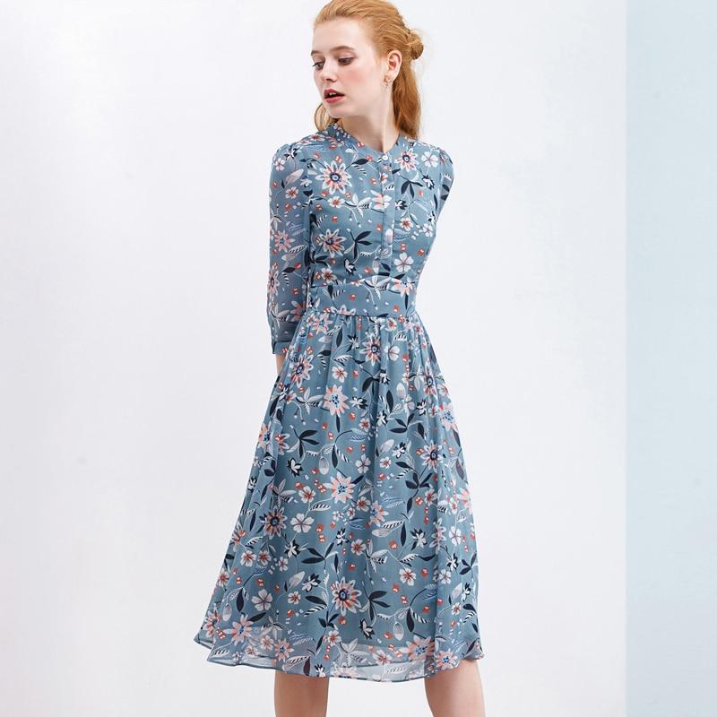 ONLYPLUS automne imprimer robe en mousseline de soie pour les femmes Stand décontracté bouton Style ouvrir la poitrine genou robe doux Vestidos 2019