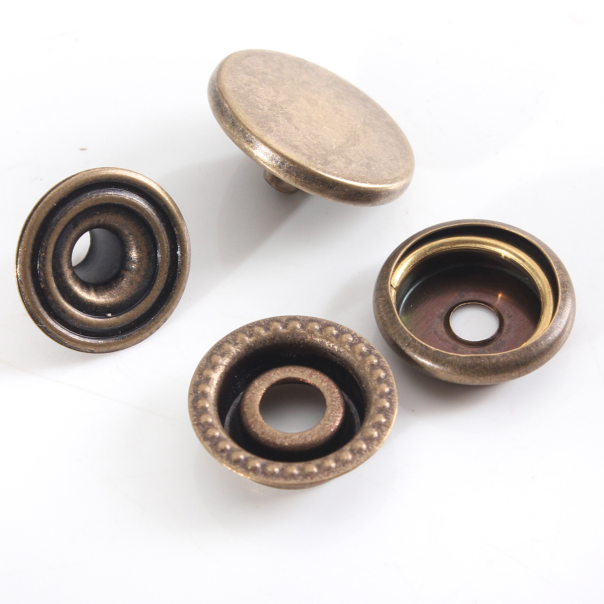 15pcs 10//12//15//17mm Metal Studs Leather Press Button Jeans Sewing Snap Fasteners